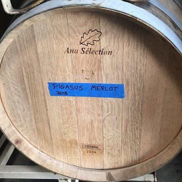 One of two neutral barrels that will hold our precious juice